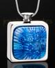 Stainless Steel Sky Blue Bouquet Keepsake Pendant