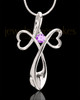 Sterling Silver Purple Forever in My Heart Cremation Urn Pendant