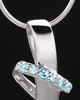 Sterling Silver Blue Inspirational Memories Cremation Urn Pendant