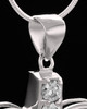 Sterling Silver Free Spirit Cremation Urn Pendant-Clear