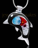 Silver Plated Black Diving Dolphin Cremation Urn Pendant