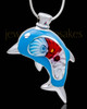 Silver Plated Blue Diving Dolphin Cremation Urn Pendant