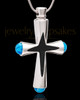 Stainless Blue Adorn Cross Cremation Urn Pendant