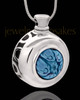 Silver Plated Blue Quaint Round Cremation Urn Pendant