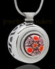 Silver Plated Budding Pink Round Cremation Urn Pendant
