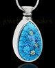 Silver Plated Befitting Blue Teardrop Cremation Urn Pendant