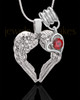 January Winged Memories' Sterling Silver Heart Cremation Pendant