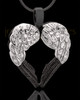 Two Tone Sterling Winged Memories Heart Cremation Urn Pendant