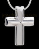 Sterling Silver Compact Cross Cremation Urn Pendant