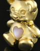 14k Gold Happy Bear with Pink Heart Cremation Pendant