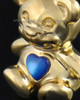 Gold Plated Happy Bear with Blue Heart Cremation Pendant
