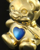 14k Gold Happy Bear with Blue Heart Cremation Pendant