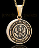 Gold Plated over Stainless Military Medallion-Army Urn Pendant