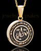 Gold Plated over Stainless Military Medallion-Marines Urn Pendant