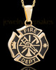 Gold Plated Fire Department Medallion Urn Pendant