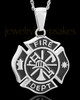 Stainless Fire Department Medallion Urn Pendant