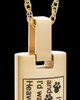 Gold Plated Sentimental Cylinder Pet Urn Pendant