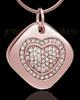 Rose Gold Plated Mindful Heart Cremation Urn Pendant