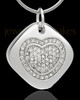 Sterling Silver Mindful Heart Cremation Urn Pendant