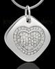 Sterling Silver Mindful Heart Cremation Urn Pendant