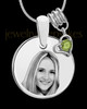 August Photo Engraved Round Pendant Stainless Steel
