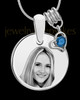 September Photo Engraved Round Pendant Stainless Steel