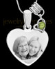 August Stainless Steel Memories Heart-Shaped Photo Engraved Pendant