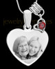 January Stainless Steel Memories Heart-Shaped Photo Engraved Pendant