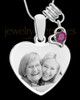 July Stainless Steel Memories Heart-Shaped Photo Engraved Pendant