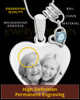 March Stainless Steel Memories Heart-Shaped Photo Engraved Pendant