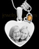 November Stainless Steel Memories Heart-Shaped Photo Engraved Pendant