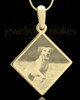 Photo Engraved Diamond Pet Pendant Gold Plated over Stainless Steel