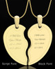 Two Half Heart Photo Engraving Keepsake Gold Plated