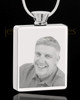 Photo Engraved Rectangle Stainless Steel Cremation Pendant