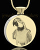 Photo Engraved Round Stainless Gold Plated Pet Cremation Pendant