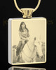 Photo Engraved Stainless Gold Plated Rectangle Pet Cremation Pendant
