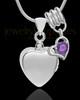 Sterling Silver Gentle Heart February Urn Pendant