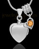 Sterling Silver Gentle Heart November Urn Pendant