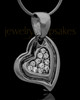 Black Plated Heart Trio Keepsake Jewelry