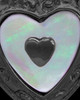 Black Plated Shimmer Heart Keepsake Jewelry