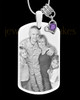 February Photo Engraved Stainless Steel Dog Tag Pendant With Chain