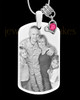 October Photo Engraved Stainless Steel Dog Tag Pendant With Chain