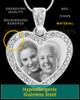 Photo Engraved Gem Heart Pendant Stainless Steel