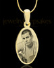 Photo Engraved Oval Pendant Gold Plated over Stainless