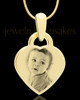 Photo Engraved Small Heart Pendant Gold Plated over Stainless