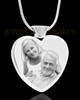 Photo Engraved Heart Stainless Cremation Pendant