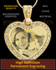 Photo Engraved Gem Heart Pet Pendant Gold Plated over Stainless