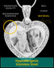 Photo Engraved Gem Heart Pet Pendant Stainless Steel