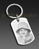 Memorial Jewelry Stainless Steel Rectangle Photo Engraved Keychain