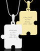Photo Engraved Large Puzzle Pet Pendant Gold Plated